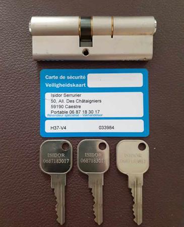 Fourniture et pose de cylindre de sécurité Serial près d'Hazebrouck